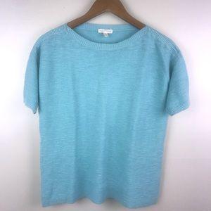 EILEEN FISHER Organic Linen Sweater Blouse Blue